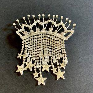Huge Rhinestone Crown Brooch with Dangles